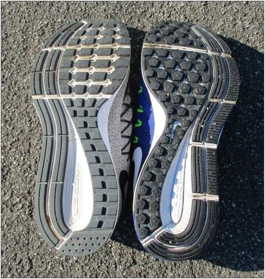 32 vs 33: Beide Schuhsohlen im Direktvergleich.