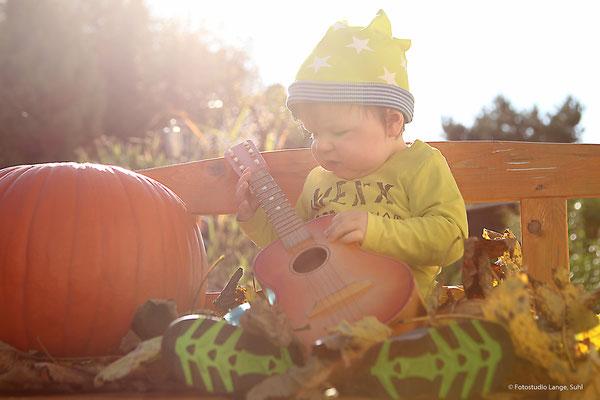 Kürbis, Gitarre, Zwerg, Herbst, Fotos im Freien