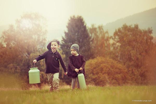 Milch holen, Herbst, Weide, Wiese,