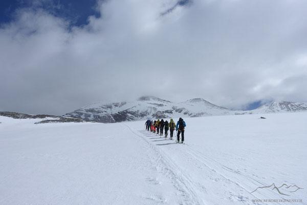 Aufstieg auf dem Brunegggletscher