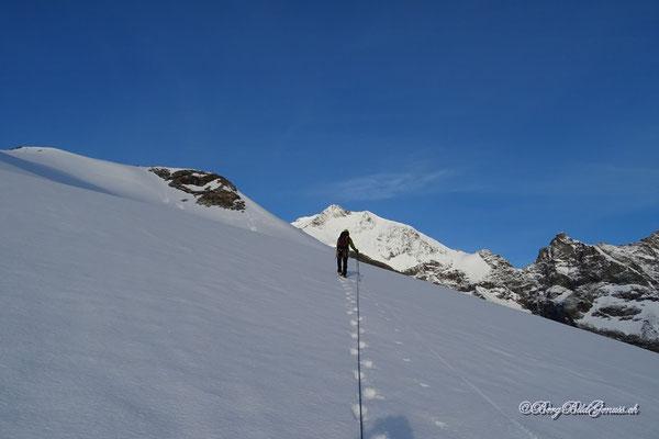 Aufstieg mit dem Piz Bernina im Blick
