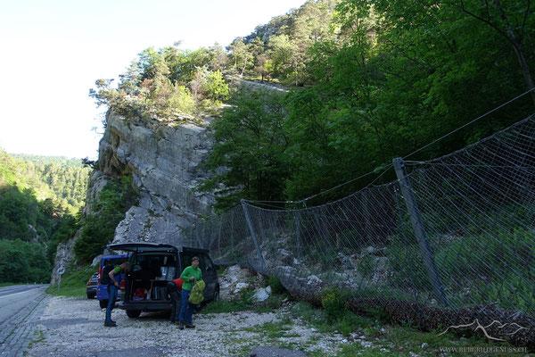 Start beim Parkplatz in der Combe du Pont