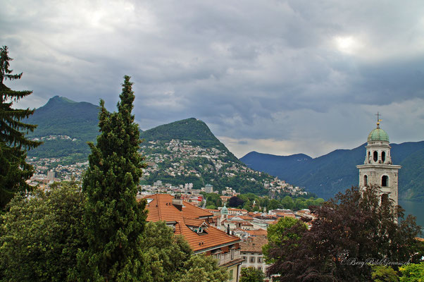 Lugano, im Hintergrund links das Tagesziel