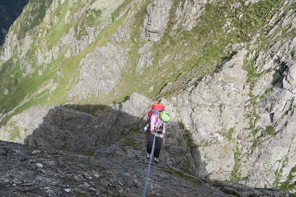 Abseilen über die Gipfelplatte