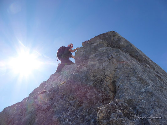 Am ersten Gipfel des Rupperslauistöcklis - Vorsicht, der Fels ist eher unzuverlässig!