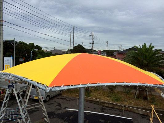パラソル型テント(不燃テントFG8)・鉄骨加工建て方(元請様)