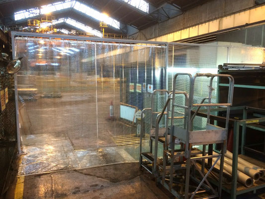 工場内透明カーテン・鉄骨下地