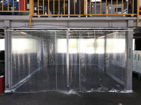 工場内透明間仕切り+カーテン・ワイヤー下地