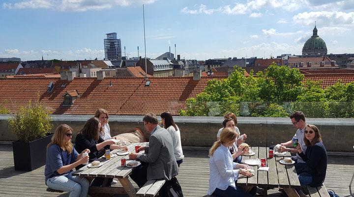 Gastfreundschaft auf der Dachterrasse des Gefion Gymnasiums in Kopenhagen.  Bild: Ulrichs