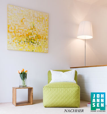 Home Staging Johannsen Wohnzimmer Leseecke nachher
