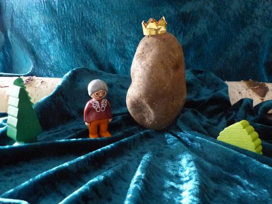 Einmal ging die Großmutter in den Keller, um ein Körbchen Kartoffeln zu holen.Sie suchte sich den Kartoffelkönig aus. Als sie mit dem Körbchen über den Hof ging, sprang der kleine König auf die Erde und rollte so schnell er konnte in den Garten.