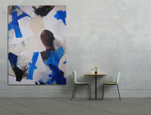 VERKAUFT  - Abstract Painting 6/6-2015 -  Acrylics on canvas 160 x 110 x 4 cm