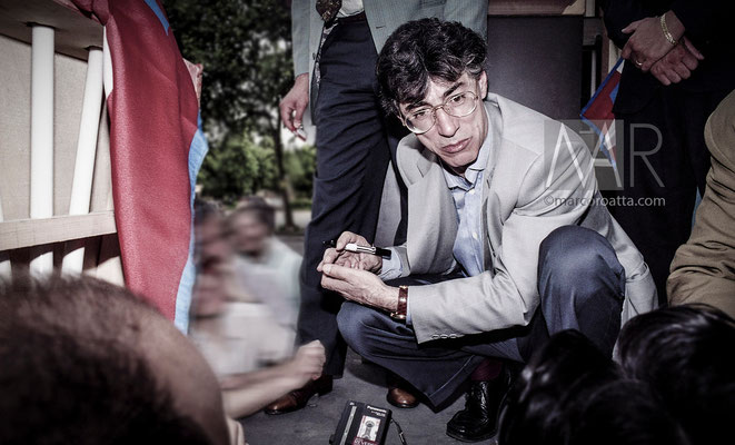 Umberto Bossi - Campagna elettorale elezioni comunali Grugliasco (To)