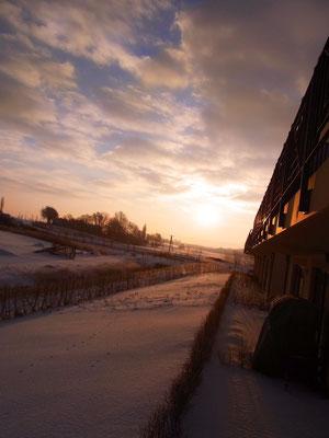der Winterblick von der Terrasse