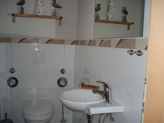Das WC ist separat vom Bad so können sich zwei gleichzeitig fertig machen