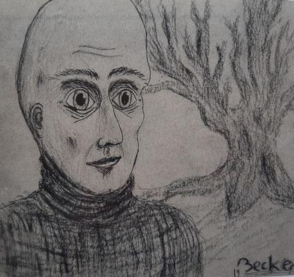 Valentin Becker, 19 Jahre , Tuschebild, Porträt mit Baum