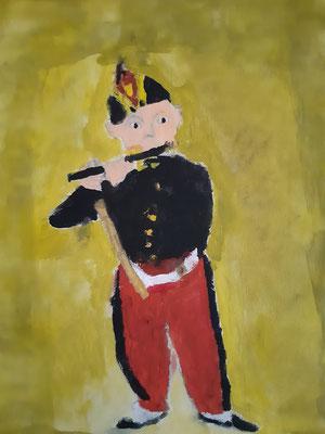 Theo Siegl, 7 Jahre , Gouachebild, nach einem Bild der Flötenspieler von Manet.