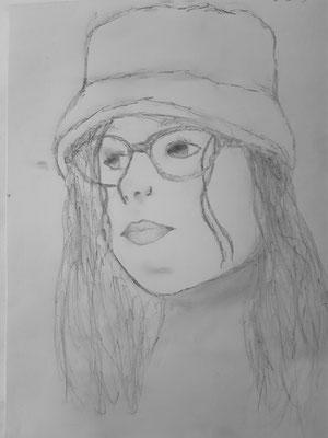 Nora Nigischer , 13 Jahre, Bleistiftzeichnung, Selbstporträt als Jugendliche -jetzt