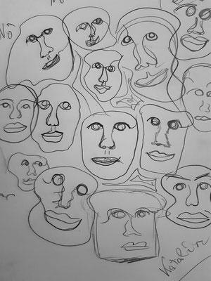 Katalin Zverev, 13 Jahre, Bleistiftzeichnung, Gesichter
