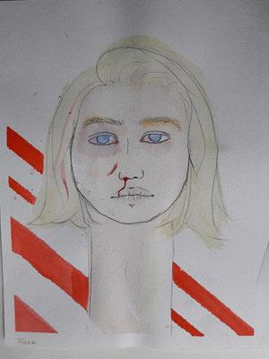 Marlene Nigischer, 17 Jahre, Bleistift, Aquarell, Porträt eines Mädchens