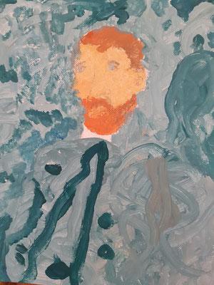 Emilia Zverjev, 6 Jahre, Porträtbild/ Gouache, nach einem Selbstporträt von V. Van Gogh
