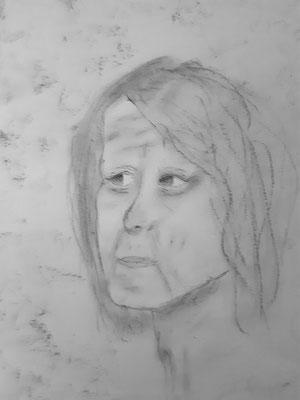 Nora Nigischer, 13 Jahre, Bleistiftzeichnung , imaginäres Selbstporträt als alte Frau