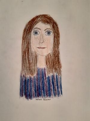 Helene Thurner, 12 Jahre, Buntstiftzeichnung, Mädchenporträt