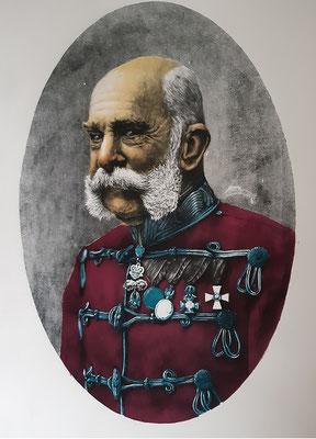Louis Szapary, 26 Jahre, großformatige Druckgrafik, Porträt  Kaiser Franz Josef