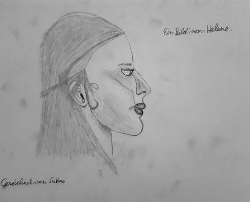 Lukas Innerhofer, 12 Jahre,Bleistiftzeichnung , Porträt von Helene  aus der Malakademie-Gruppe