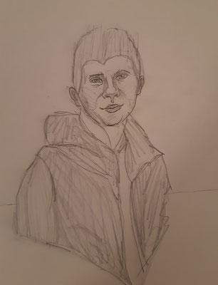 David Steinböck, 17 Jahre, Bleistiftzeichnung, ein Freund