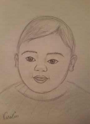 Katalin Zverev, 13 Jahre, Bleistiftzeichnung , Porträt eines Kleinkindes