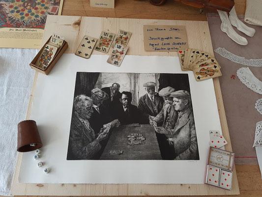 """Grafik """"Kartenspieler""""von LOUIS SZAPARY , bei der Auslagenpräsentation ALTE SPIELE"""
