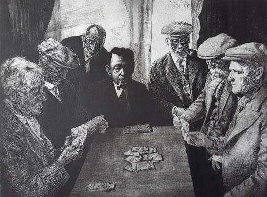 """Louis Szapary, 26 Jahre, Druckgrafik, Kartenspieler-spielen  das Spiel """"Schlacht"""""""