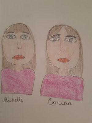 Johanna Datler, 10 Jahre, Buntstiftzeichnung , Porträt der Zwillingsschwestern Michelle und Carina
