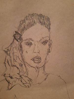Oskar Dörrer, 17 Jahre, Bleistiftzeichnung,  Mädchenporträt