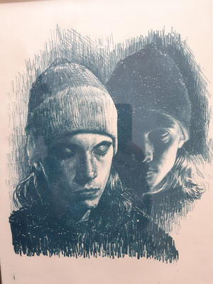 Louis Szapary, 26 Jahre, Druckgrafik, Selbstporträt