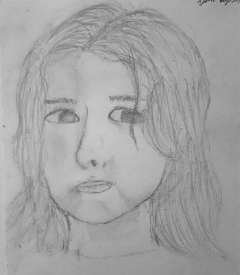 Nora Nigischer, 13 Jahre , Bleistiftzeichnung, Selbstporträt als Kind