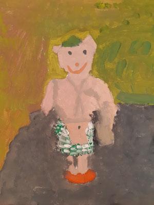 Negah Fakirzada, 8 Jahre , Gouachebild , Porträt einer kleinen Puppe
