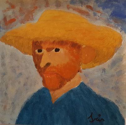 Iris Niemczanowski , 12 Jahre ,  Porträtbild/Gouache, nach  einem Selbstporträt von V.Van Gogh