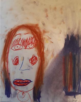 Emilia Zverjev, 6 Jahre, Pastellkreiden-Bild,  Porträt