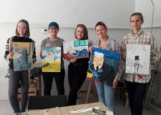 Malakademie Jugendliche im Schuljahr 2019, Nikola Brunner, Laura Weinberger, Flora Zobernig, Marlene Nigischer, Sebastian Brenner