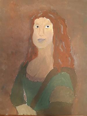 Anna Lieb, 11 jahre, Gouache-farben, nach dem Bildnis  von da Vincis Mona Lisa