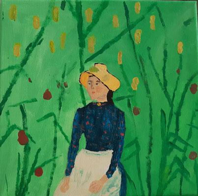 Nora Nigischer, 13 jahre, Gouachebild, nach Motiv eines französichen Malers