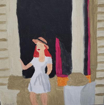 Johanna Datler, 10 Jahre ,Gouachebild, Frauenbildnis nach E. Hopper