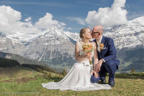 Hochzeitskuss auf 1800 Meter, Bussalp