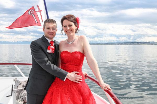 Brautpaarshooting auf dem Schiff, Bodensee