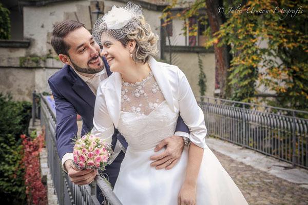 Brautpaar im Schloss Landshut, Brücke
