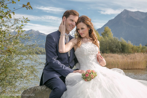 Thun, Berner Oberland, romantische Bergkulisse am See
