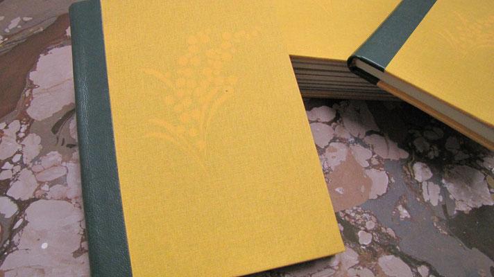 Quaderno per la festa della donna con mimosa in trasparenza per 8 marzo
