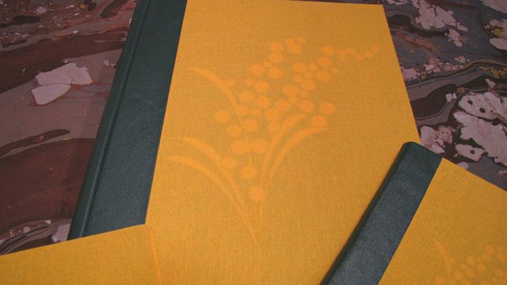 Abum foto per la festa della donna con mimosa in trasparenza per 8 marzo